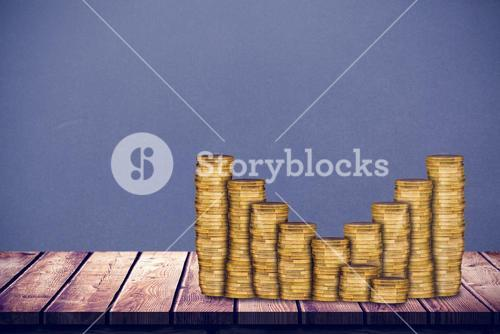 Composite image of gold coin bar chart