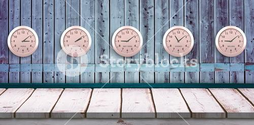 Composite image of five pink clock
