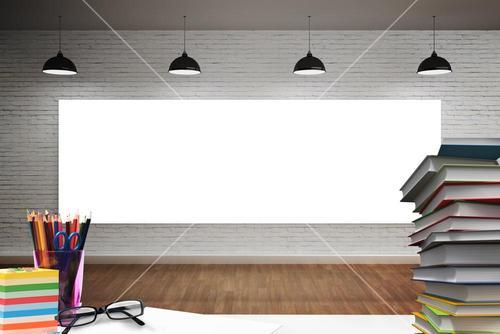 Composite image of students desk