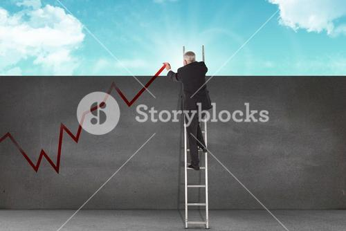 Composite image of mature businessman climbing career ladder