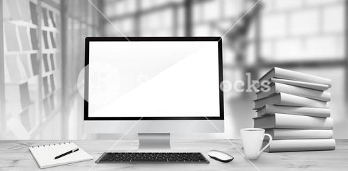 Composite image of image of a desk with computer