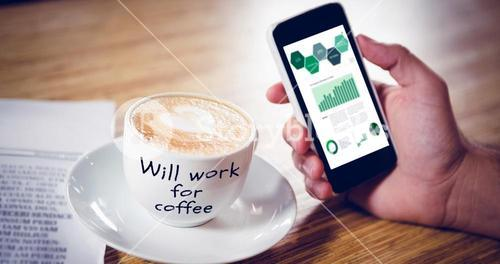 Composite image of will work for coffee