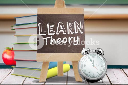 Composite image of learn theory word