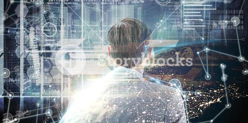 Composite image of wear view of businessman looking across window