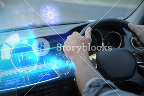 Composite image of technology car interface