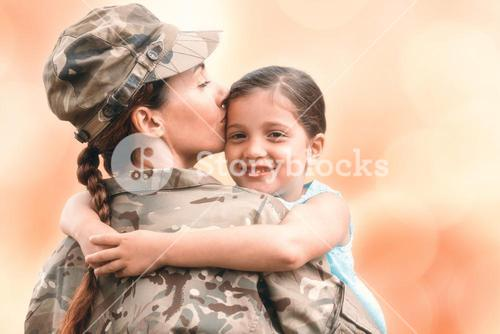 Composite image of close-up of mother in army uniform kissing daughter