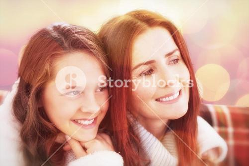 Composite image of mother and daughter