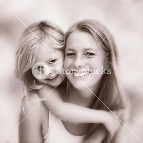 Composite image of cute little girl and mother