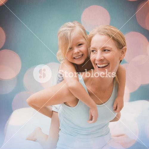 Composite image of cute little girl and mother on bed