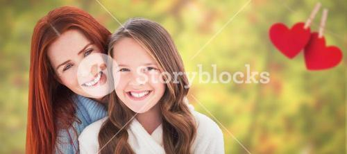 Composite image of portrait of happy mother with daughter