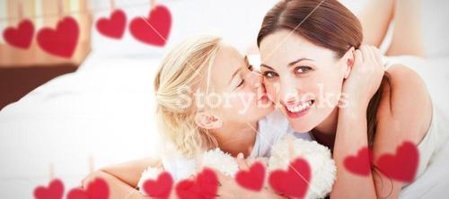 Composite image of cute little girl kissing her mother