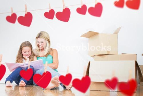 Composite image of mother and daughter reading a book