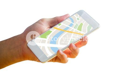 Man using map app on phone
