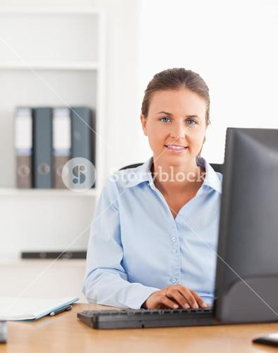 Working woman using a computer