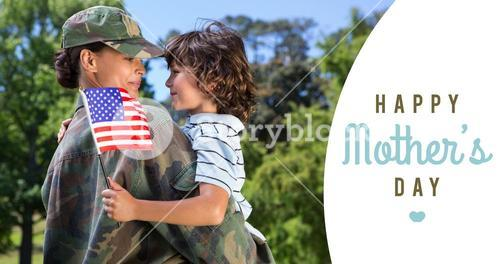Composite image of army woman carrying son