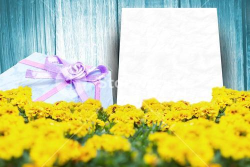 Composite image of gift in a blue background
