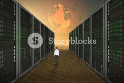 Composite image of rear view of businessman with hands in pockets