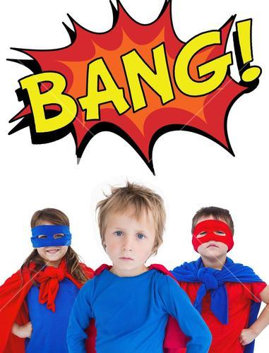 Composite image of children dressed as superman