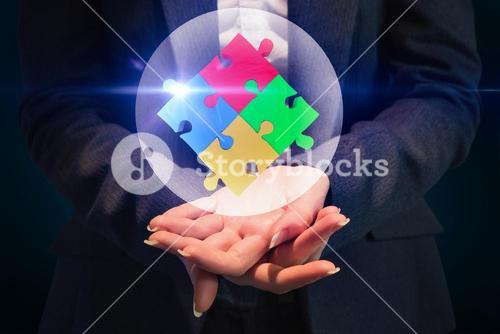 Composite image of businesswoman with hands out