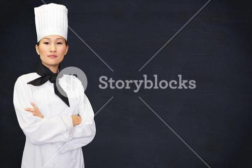 Composite image of portrait of confident female cook in kitchen