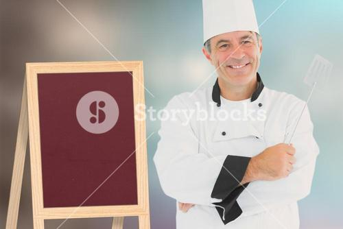 Composite image of a cook holding utensil