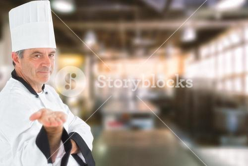 Composite image of male chef presenting an invisible product