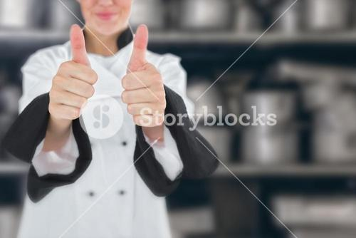 Composite image of chef showing thumbs up sign