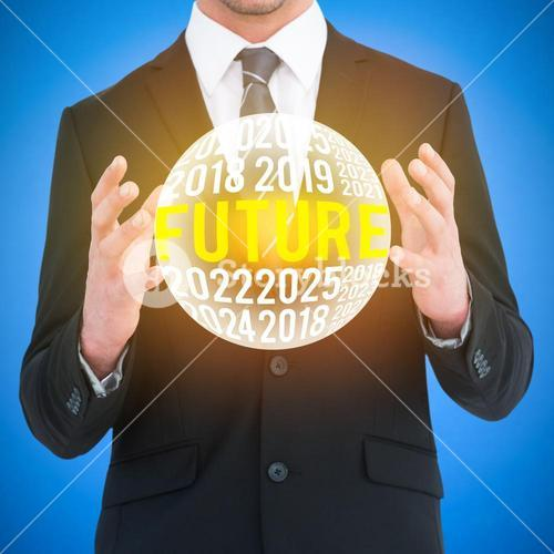 Composite image of businessman gesturing with his hands
