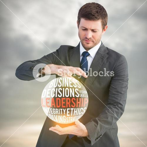 Composite image of businessman showing something with his hands
