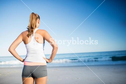 Rear view of woman looking the horizon