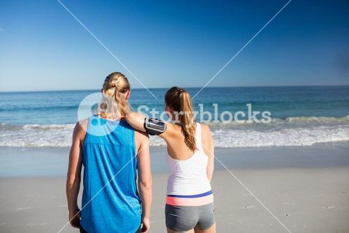 Friends looking at the sea