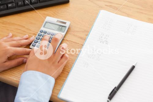 Woman calculating