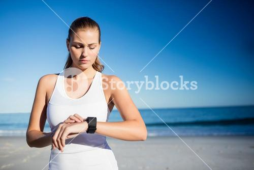 Woman using a smart watch