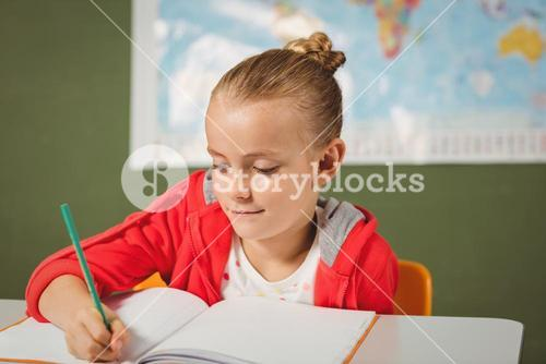 Girl writing in her notebook