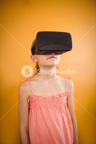 Girl using a virtual reality device