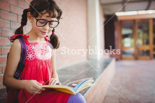 Seated schoolgirl reading a book