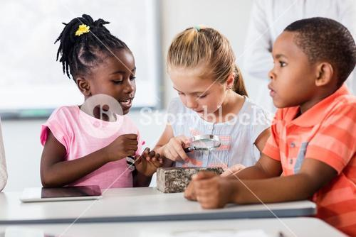 Pupils looking at rock with magnifying glass