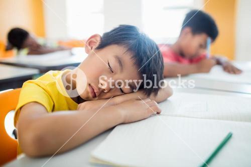 Portrait of pupil falling asleep