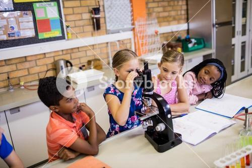 Children looking in microscope