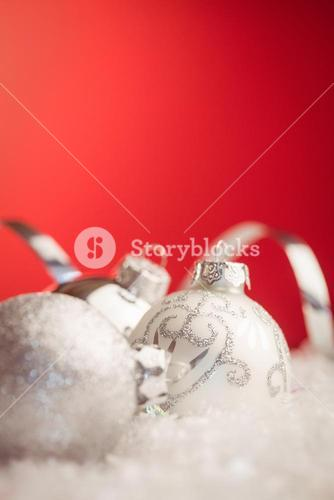 Extreme close up view of christmas baubles