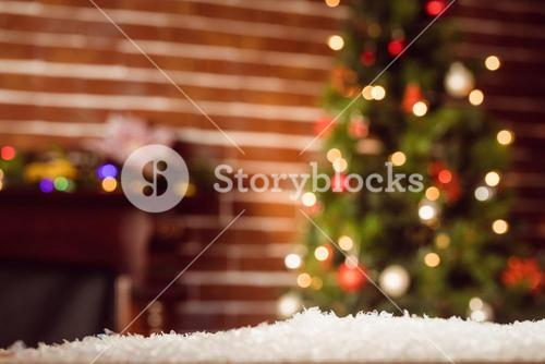 Composite image of room decorated at Christmas time