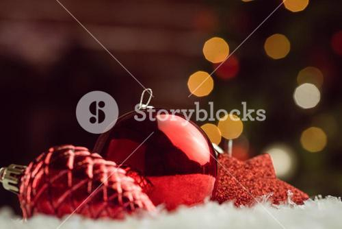 close up view of red baubles