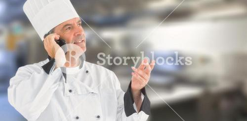 Composite image of a chef calling on the phone