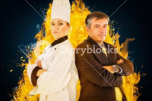 Composite image of portrait of chef and businessman back to back
