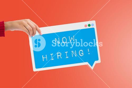 Composite image of now hiring message