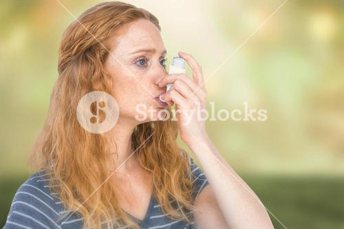 Composite image of woman using the asthma inhaler