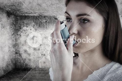 Composite image of portrait of an asthmatic woman