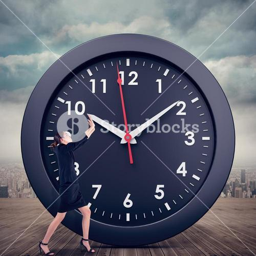 Composite image of businesswoman pushing