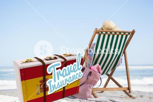 Composite image of travel insurance message on a spanish suitcase