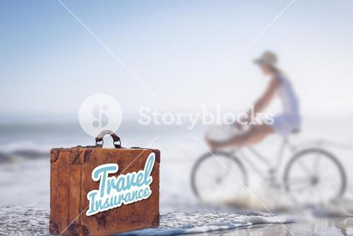 Composite image of travel insurance message on an old suitcase